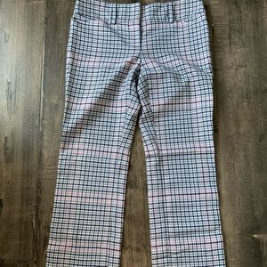 Pink and blue plaid flare work pants